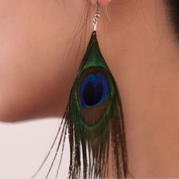 ONETOW Retro national style luxury peacock feather earrings color wild earrings