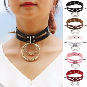 Sexy Handmade Leather Punk Chokers Necklace Goth Harajuku Two O-Round Sharp Nail Rivet Necked Collar