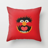 The Muppets Show Vintage Art Animal Retro Style Minimalist Poster Print Throw Pillow by The Retro Inc