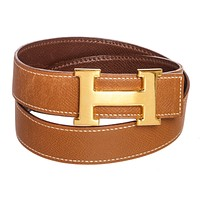 Hermes Brown Courchevel Reversible Gold H Mini Constance Belt 70