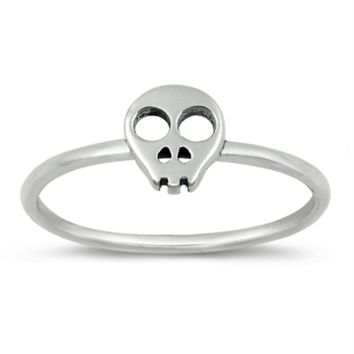 .925 Sterling Silver Skull Ring Ladies Size 3-10 Midi Thumb Knuckle