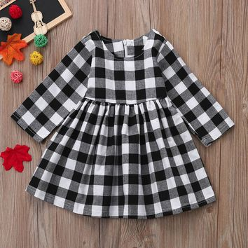 Newborn Infant kid Baby Girls O-Nec Long Sleeve Plaid Princess Dress Outfits Clothes winter cotton costume fashion casual wear