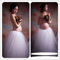 Royal Style Maternity Pregnancy Elegant Fancy Gown White Lace Photography Props Long Dress Pregnant Women Photo Shoot Gown Dress