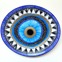 Evil Eye Decor - Wall Evil Eye - Original Art - Art Contemporary - Wall Hanging Decor - Wall Decor Evil Eye - Blue Evil Eye Decor