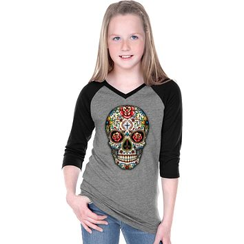 Girls Halloween T-shirt Sugar Skull with Roses V-Neck Raglan