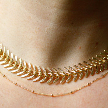 Textured Fishtail Choker Necklace, Statement Necklace, Wide Chain Layering, Large Chain Textured, Gold Choker Necklace, Layered Set