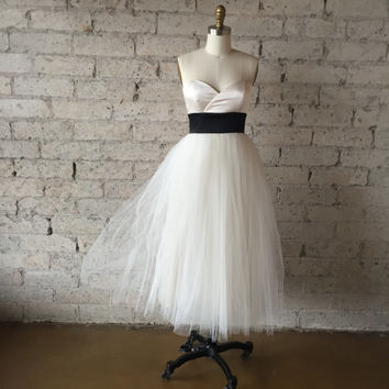 SALE Ivory Strapless Sweetheart Silk and Tulle Cocktail Dress by Ouma