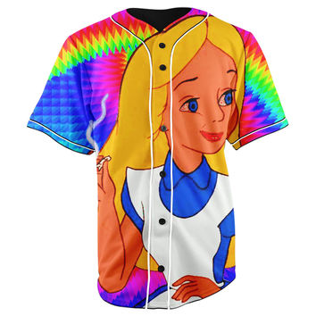 Alice's Adventures in Wonderland Button Up Baseball Jersey