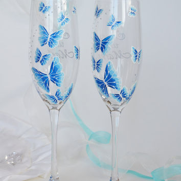 Hand painted Wedding Toasting Flutes Set of 2 Personalized Champagne glasses White and blue Butterflies love flight