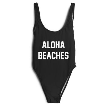 Sexy Monokini One piece swimsuit Swimwear bathing Suits backless letter ALOHA BEACHES Beachwear Bodysuit Jumpsuit