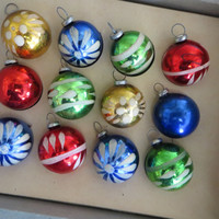 Antique Shiny Brite Feather Tree Ornaments Glass Ornaments Hand Decorated Ornament Christmas Tree  Mercury Glass Ornaments Antique Ornaments