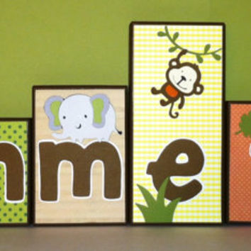 Personalized Wood Blocks - M2M Kidline's Jungle Walk bedding Baby Room Decor Custom Name Letters - Baby Letter Blocks