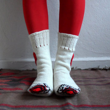 Cream Wool Socks, Heart Socks, Knit Wool Socks, Unisex Socks Holiday Fashion, Christmas Gift, Winter Accessories
