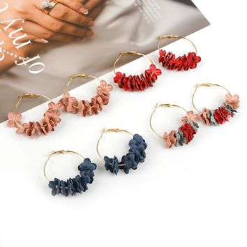 New Arrival Hoop Earrings For Women Fabric Flower Pending Gold Color Circle Pendientes Female Fashion Jewelry