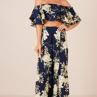 Here With Me two piece set in navy floral Produced By SHOWPO