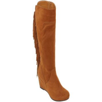 Women's Abilene Mid Calf Fringe Boots in Tan