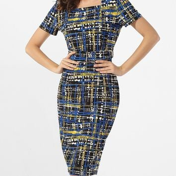 Streetstyle  Casual Square Neck Plaid Printed Bodycon-dress