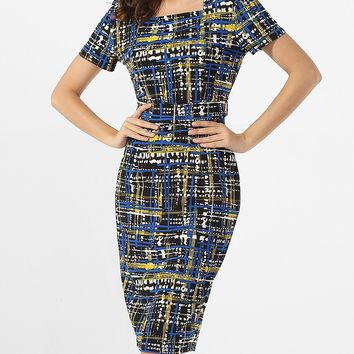 Casual Square Neck Plaid Printed Bodycon-dress