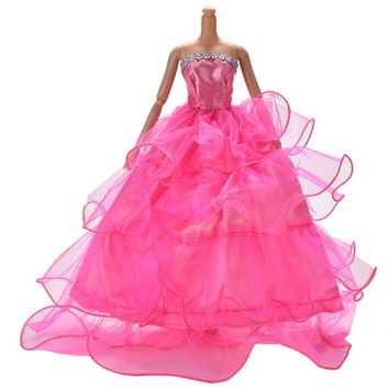 1PCS Fashion Clothing Gown Accessories Fashion Style Elegant Handmake Wedding Dress For Barbie doll
