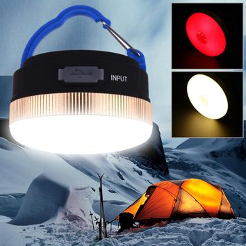 USB Rechargeable Ultra Bright 300LM Portable Outdoor Camping Lantern Hiking Tent LED Light Campsite Hanging Lamp Outdoor TOOL