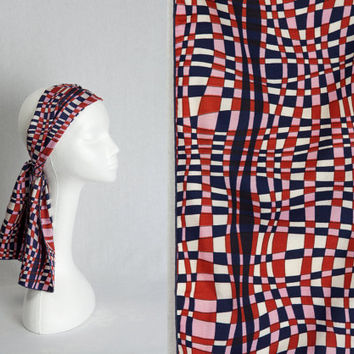 Vintage Scarf Mod Pink Red Blue Op Art Print Rectangle  1970's