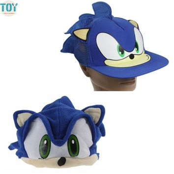 OHMETOY Sonic Cosplay Hat The Hedgehog Fleece Plush Cap fot Adults Teenagers Cartoon Anime Blue Costumes Toy