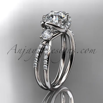 platinum diamond unique engagement ring, wedding ring ADER146