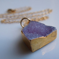 Druzy Necklace in Periwinkle Purple
