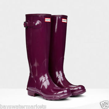 HUNTER ORIGINAL TALL GLOSS BRIGHT PLUM WELLINGTON BOOTS DARK PURPLE WELLIES NWT