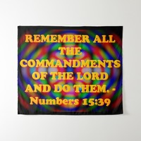 Bible verse from Numbers 15:39. Tapestry