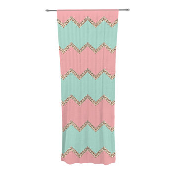 "Monika Strigel ""Avalon Soft Coral and Mint Chevron"" Orange Green Decorative Sheer Curtain"