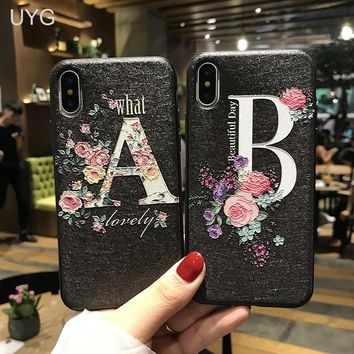UYG lovely flower case for iphone x real 3d relief luxury silicone floral girl phone cases for iPhone 8 7 6s plus full fit cover