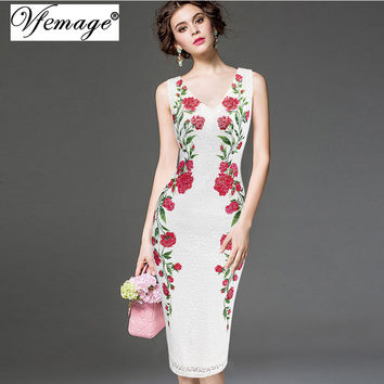 Vfemage Womens Elegant Vintage V Neck Lace Flower Printed Work Office Casual Bridemaid Mother of Bride Evening Party Dress 3049
