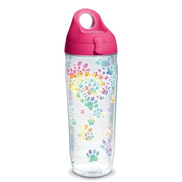 Tervis Project Paws Tie Dye Paw Heart with fuchsia lid, 24 oz. water bottle