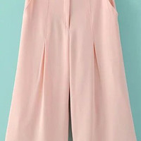 Solid Color Loose-Fit Capri Pants