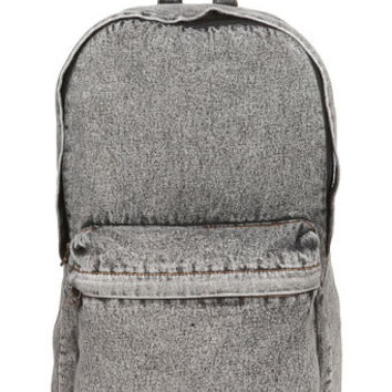 Black Denim Acid Wash Backpack
