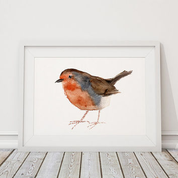 Robin print Cute bird watercolor Nursery art ACW79