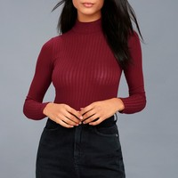Someone Like You Burgundy Long Sleeve Mock Neck Top