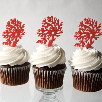 12 Red Coral Cupcake Toppers (Acrylic)