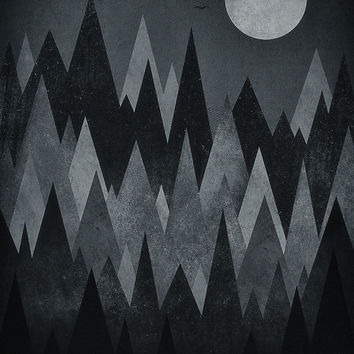 'Dark Mystery Abstract Geometric Triangle Peak Wood's (black & white)' by badbugs