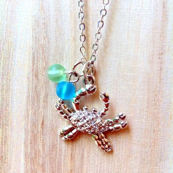 crab with sea glass necklace, beach necklace, summer accessory