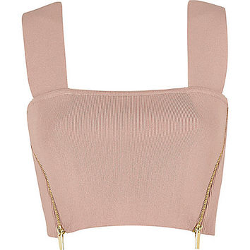 Light pink side zip crop top - knitted tops - knitwear - women