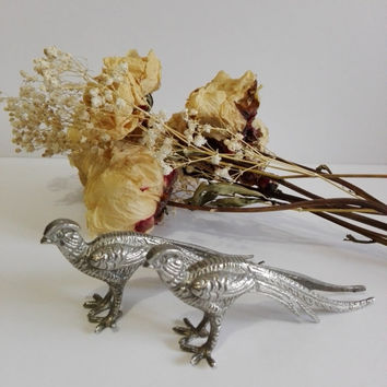 Couple of pheasants silver metal, french vintage.Centerpiece.