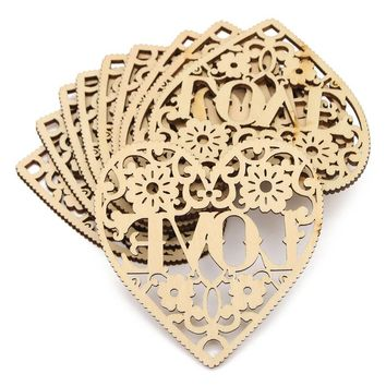 Modern DIY 10pcs Laser Cut Decorative Heart Unfinished Wooden Shapes Craft Embellishments Wood Craft Home Decor