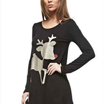12pm by Mon Ami Women's Casual Long Sleeve Knit Christmas Shirt with Reindeer