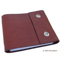 LIBRO - Handmade Italian Leather CD Carrying Case (Dark Leather)