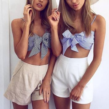Women Fashion Strap V-Neck Sleeveless Bow Knotted Stripe Strapless Crop Tops