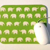 Elephant Mouse Pad / Bright Lime Green / Modern Home Office Decor / Tiny Tip Top Japanese Canvas Fabric