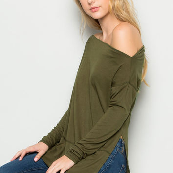 Military Green Boat Neck Hi-Low Blouse