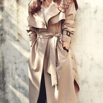 New Khaki Pockets Sashes Slit Turndown Collar Long Sleeve Going out Coat